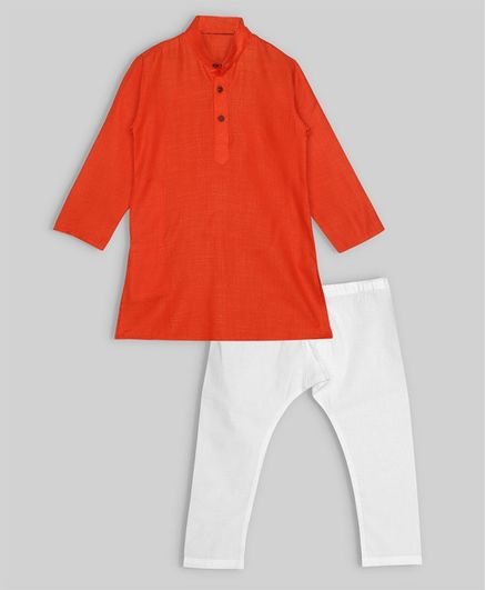 oui oui Full Sleeves Solid Kurta & Pyjama Set - Orange