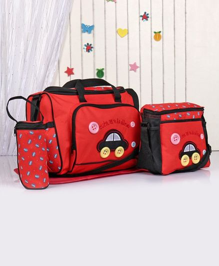 Diaper Bag Set Car Embroidery - Red