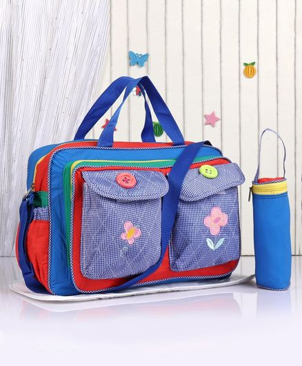Diaper Bag with Changing Mat & Feeding Bottle Holder Floral Embroidery - Blue Red