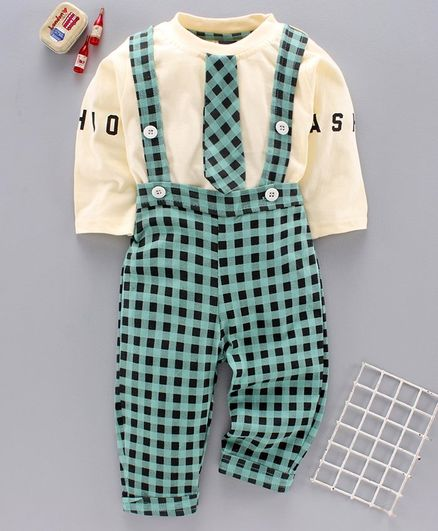 Jb Club Full Sleeves Tee With Checked Dungaree - Green