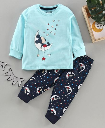 Bisney by Babyhug Full Sleeves Night Suit Mickey Mouse Print - Blue