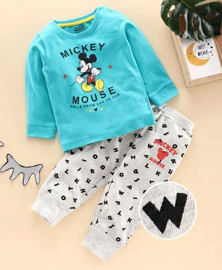 Disney by Babyhug Full Sleeves Night Suit Mickey Mouse Print - Blue Light Grey