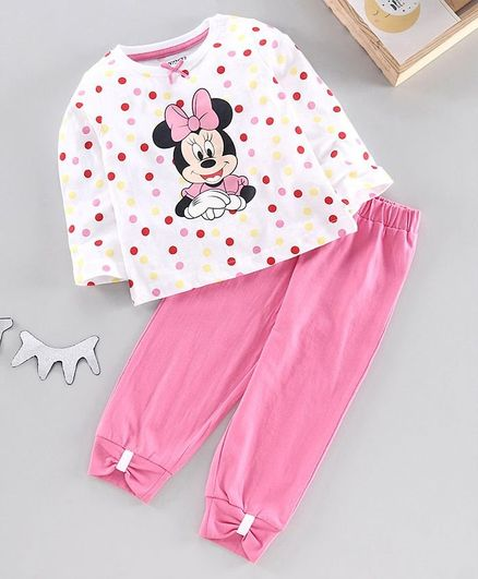 Disney by Babyhug Full Sleeves Night Suit Minnie Mouse Print - White Pink