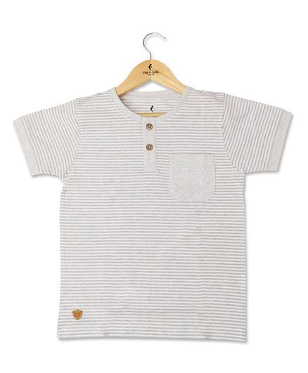 Hop n Jump Half Sleeves Striped Tee - Light Grey