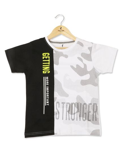 Hop n Jump Half Sleeves I am Stronger Printed Tee - White