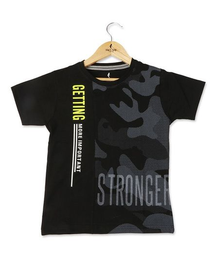 Hop n Jump Half Sleeves I am Stronger Printed Tee - Black