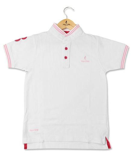 Hop n Jump Half Sleeves Solid Colour Polo Tee - White