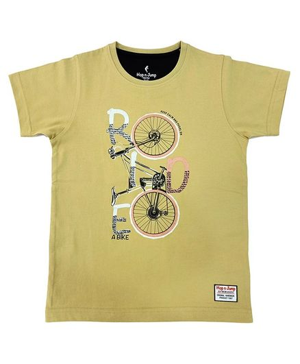 Hop n Jump Ride With Me Print Half Sleeves Tee - Beige