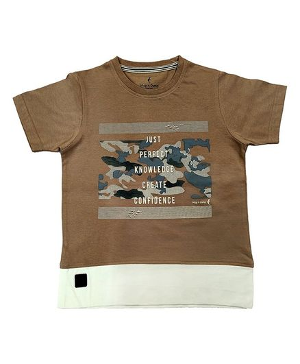 Hop n Jump Perfect Knowledge Half Sleeves Tee - Brown