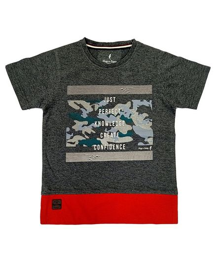 Hop n Jump Perfect Knowledge Half Sleeves Tee - Charcoal Grey