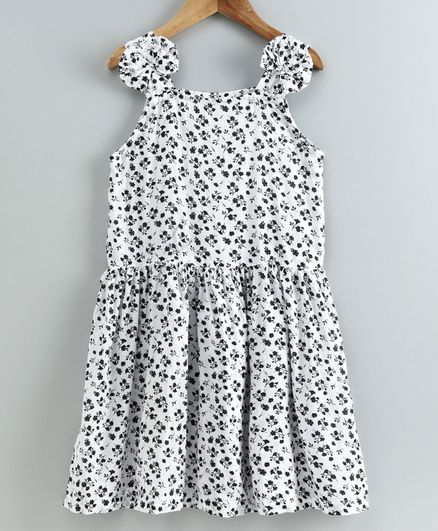 Little LABS Sleeveless Floral Print Front Bow Detailing Dress - White & Brown