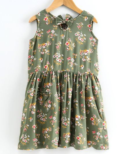 Little LABS Sleeveless Floral Print Bow Detailing Dress - Green