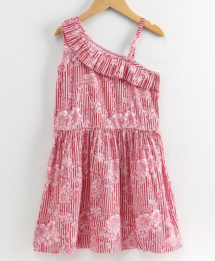 Little LABS Striped Sleeveless Floral Print Dress - Red & White