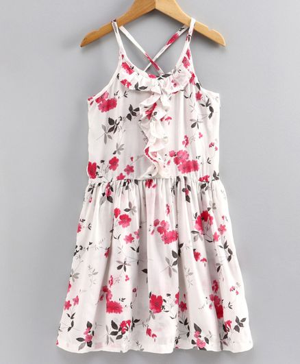 Little LABS Sleeveless Floral Print Dress - White