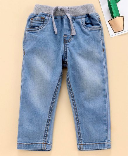 Babyhug Full Length Solid Color Jeans - Light Blue