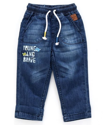 Babyhug Full Length Jeans Text Print - Blue