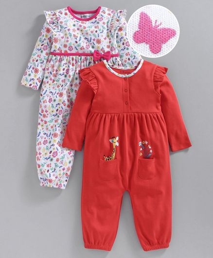 Babyoye Full Sleeves Cotton Romper Floral Print - Red