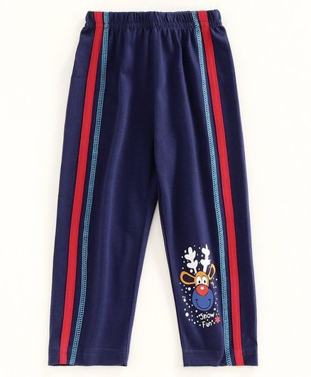 Bodycare Full Length Track Pant Reindeer Print - Dark Blue