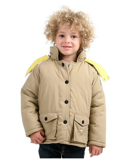 Cherry Crumble By Nitt Hyman Full Sleeves Lightweight Puffer Hooded Jacket - Beige