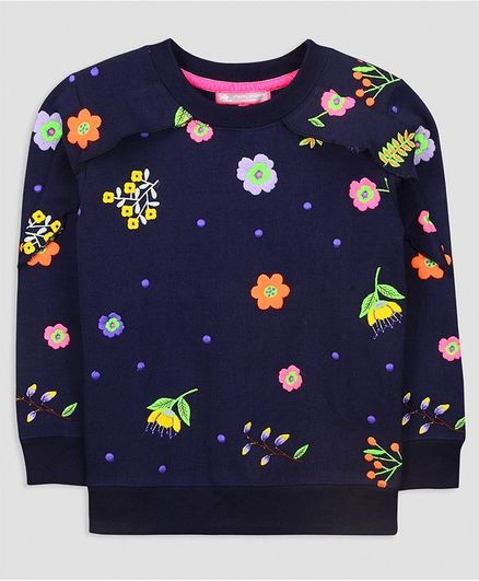 Cherry Crumble By Nitt Hyman Full Sleeves Flower Embroidery Detailing Sweatshirt - Navy Blue