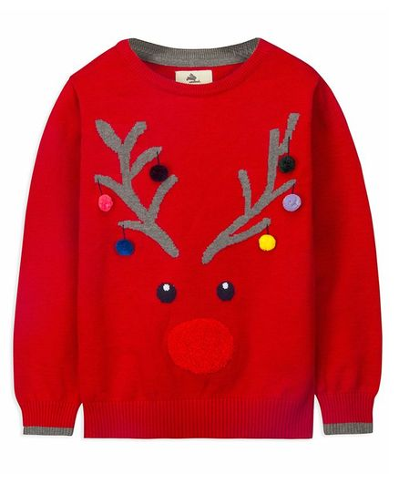 Cherry Crumble By Nitt Hyman Full Sleeves Deer Pattern Sweater - Red