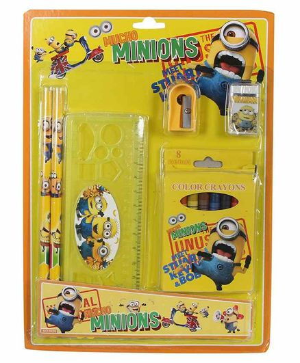 Funcart Stationery Set Cartoon Print Yellow Pack of 1 - 13 Pieces