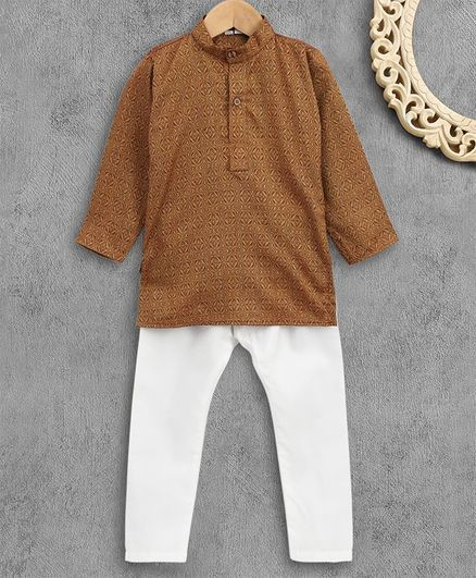 Ridokidz Self Print Full Sleeves Kurta With Pajama - Brown
