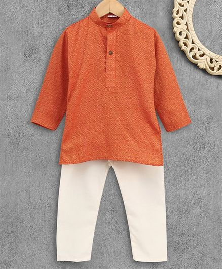 Ridokidz Self Print Full Sleeves Kurta With Pajama - Orange