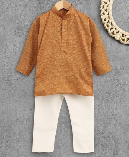 Ridokidz Self Print Full Sleeves Kurta With Pajama - Light Brown