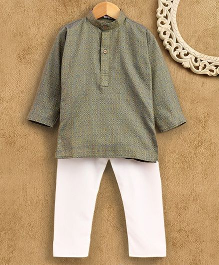 Ridokidz Self Print Full Sleeves Kurta With Pajama - Grey