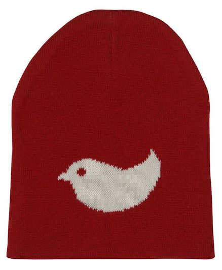 Pluchi Birdie Design Knitted Cap - Red