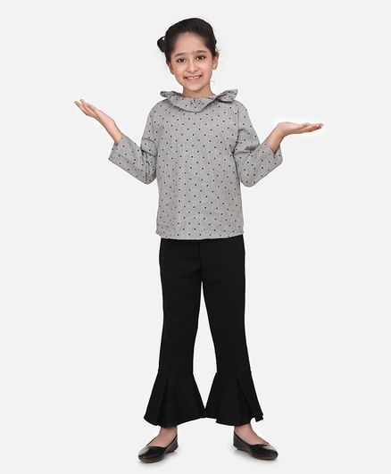 Aww Hunnie Full Sleeves Polka Dot Print Top With Bell Bottoms Pants - Grey