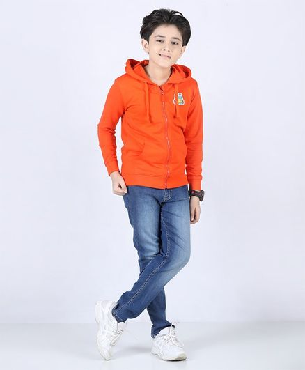 Pine Kids Full Sleeves Biowashed Hooded Sweat Jacket - Orange