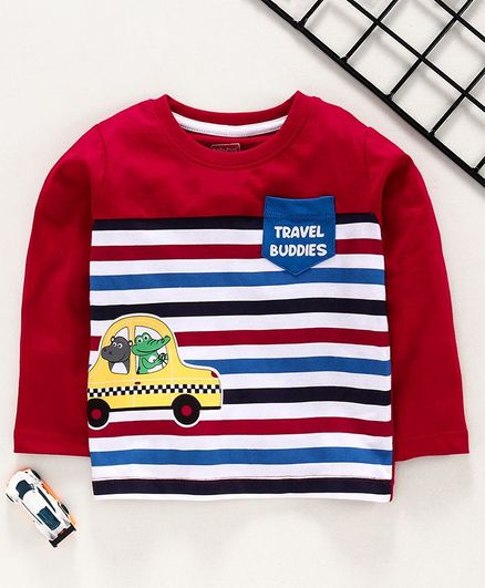 Babyhug Full Sleeves Striped Tee Animal Print - Red
