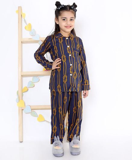 M'andy Full Sleeves Rope Print Night Suit - Blue