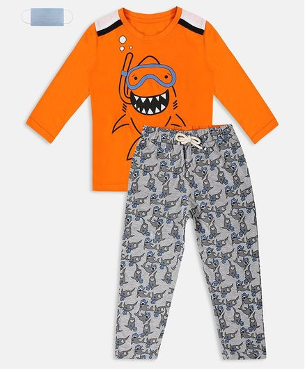 Li'L tomatoes Full Sleeves Shark Print Night Suit With 3 Ply Face Mask - Orange Grey