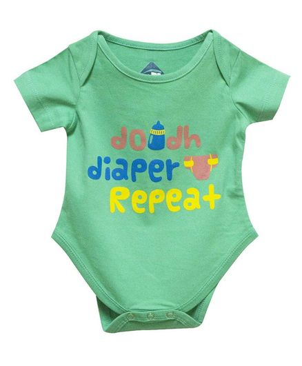 Blue bus Store Doodh Diaper Repeat Print Half Sleeves Onesie - Green