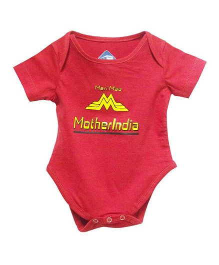 Blue bus Store Motherindia Print Half Sleeves Onesie - Red