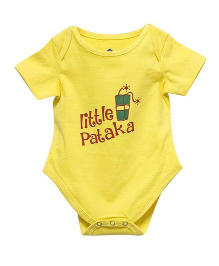 Blue bus Store Little Pataka Print Half Sleeves Onesie - Yellow