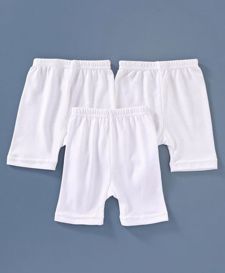 Red Rose Cycling Solid Shorts - White