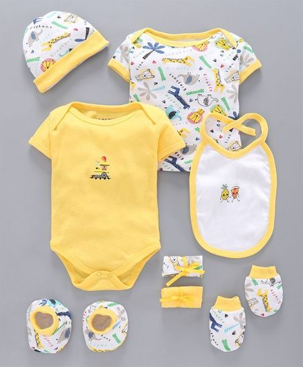 Bumzee Animals Print Half Sleeves Pack Of 8 Baby Gift Set - Yellow