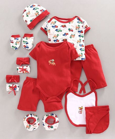 Bumzee Car Print Half Sleeves Pack Of 13 Baby Gift Set - Red