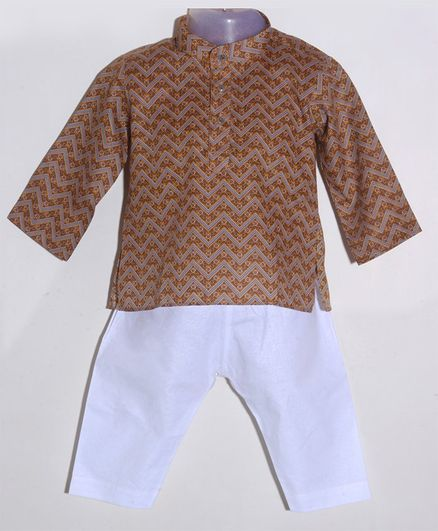 JAV Creations Full Sleeve Chevron Printed Kurta With Pyjama Set - Brown & White
