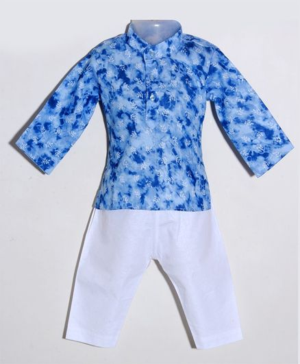 JAV Creations Full Sleeves Leaves Printed Kurta With Pyjama - Blue & White