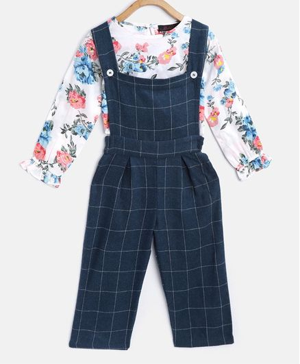Pspeaches Full Sleeves Flower Print Top With Dungaree - Blue & White