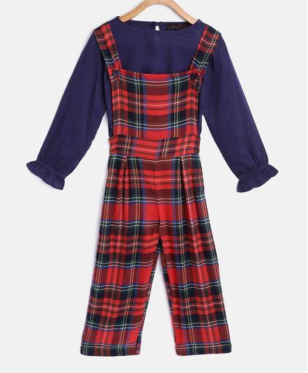 Pspeaches Full Sleeves Puffed Solid Color Top With Checked Dungaree Set  - Red & Blue