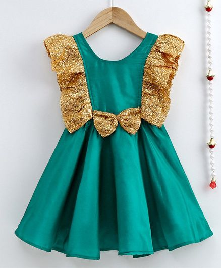 BownBee Sleeveless Frilly Sequined Bow Fit & Flared Party Dress - Green
