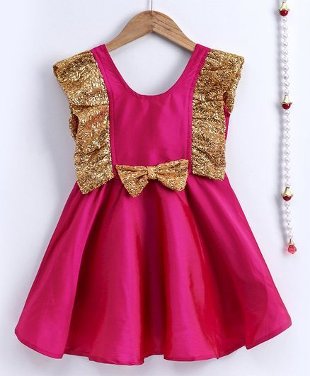 BownBee Sleeveless Frilly Sequined Bow Fit & Flared Party Dress - Pink