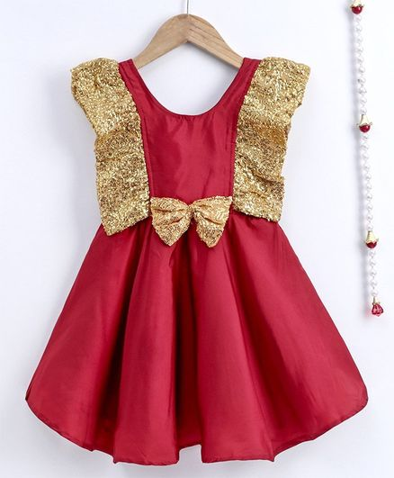 BownBee Sleeveless Frilly Sequined Bow Fit & Flared Party Dress - Maroon