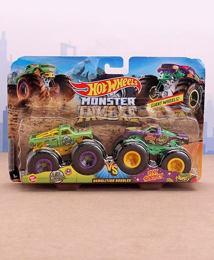 Hot Wheels Die Cast Free Wheel  Demolitions Double Monster Truck A51  Patrol Vs Test Subject - Green Yellow